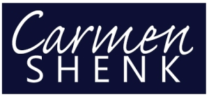 Carmen Shenk logo on Navy